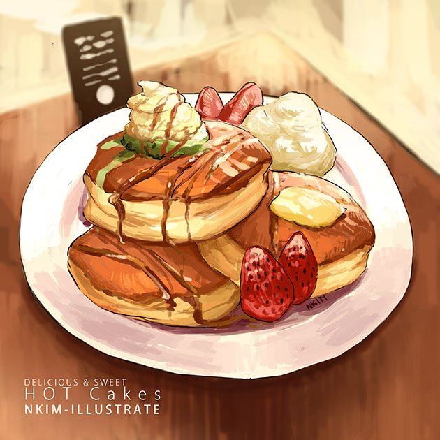 artist_name english food fruit nadia_kim no_humans original pastry strawberry syrup table
