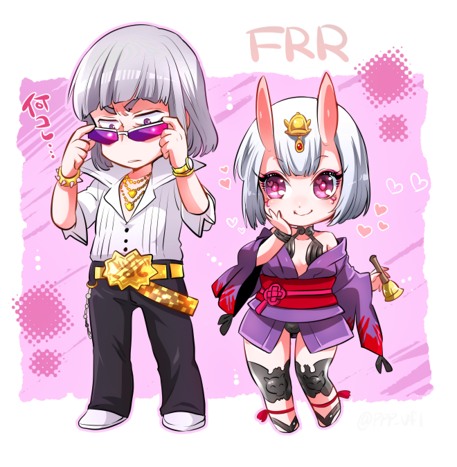 1boy 1girl bell belt bob_cut chains chibi claude_frollo cosplay disney disneyland fate/grand_order fate_(series) gold_chain hairstyle_connection heart japanese_clothes jewelry marimo_(yousei_ranbu) necklace one_man's_dream_ii oni oni_horns popped_collar recruiters_(disney) sakata_kintoki_(fate/grand_order) sakata_kintoki_(fate/grand_order)_(cosplay) shuten_douji_(fate/grand_order) shuten_douji_(fate/grand_order)_(cosplay) silver_hair sunglasses the_hunchback_of_notre_dame veil_(disney)