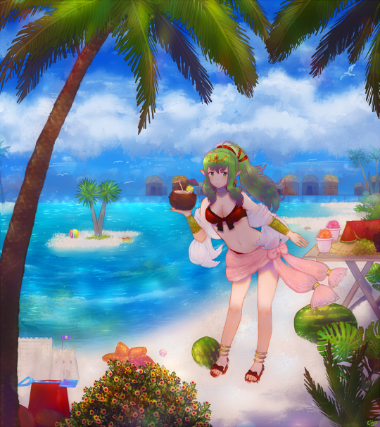 1girl beach bikini chiki coconut coconut_tree fire_emblem fire_emblem:_kakusei fire_emblem_heroes green_hair lijupy looking_at_viewer ocean palm_tree sand_castle sand_sculpture smile solo swimsuit tree