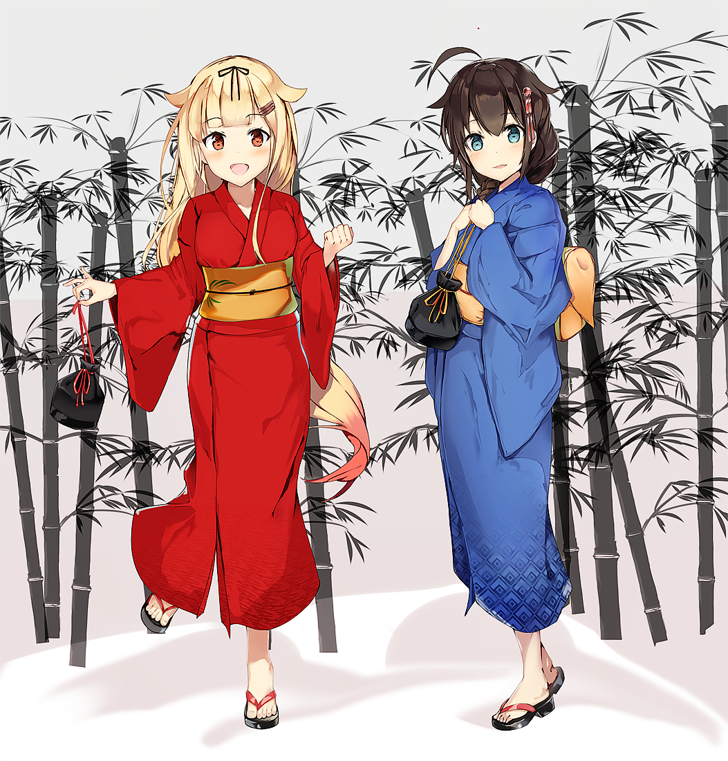 10s 2girls :d ahoge alternate_costume bamboo black_hair blonde_hair blue_eyes blue_kimono braid eyebrows_visible_through_hair full_body hair_flaps hair_ornament hair_over_shoulder hair_ribbon hairclip hairpin holding japanese_clothes kantai_collection kimono kinchaku long_hair long_sleeves looking_at_viewer multiple_girls no_socks obi one_leg_raised open_mouth pouch red_eyes red_kimono remodel_(kantai_collection) ribbon sash shigure_(kantai_collection) single_braid smile standing standing_on_one_leg unajuu_(set_mk) wide_sleeves yukata yuudachi_(kantai_collection) zouri