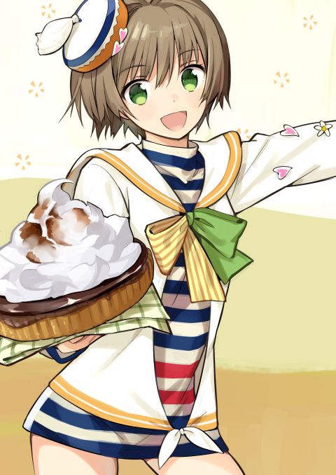 1girl brown_hair cake cowboy_shot food green_eyes hat looking_at_viewer ninomoto open_mouth original personification sailor_collar shirt smile solo striped striped_shirt whipped_cream