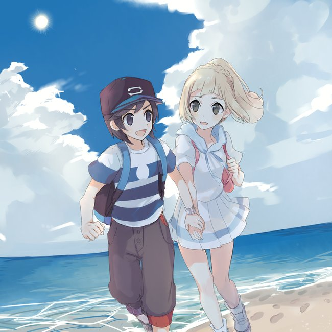 1boy 1girl backpack bag baseball_cap black_eyes black_hair blonde_hair capri_pants clouds footprints hat lillie_(pokemon) long_hair open_mouth pants pokemon pokemon_(game) pokemon_sm ponytail sand shirt short_hair short_sleeves skirt sky striped striped_shirt water white_shirt white_skirt you_(pokemon_sm) z-ring zp_hn02
