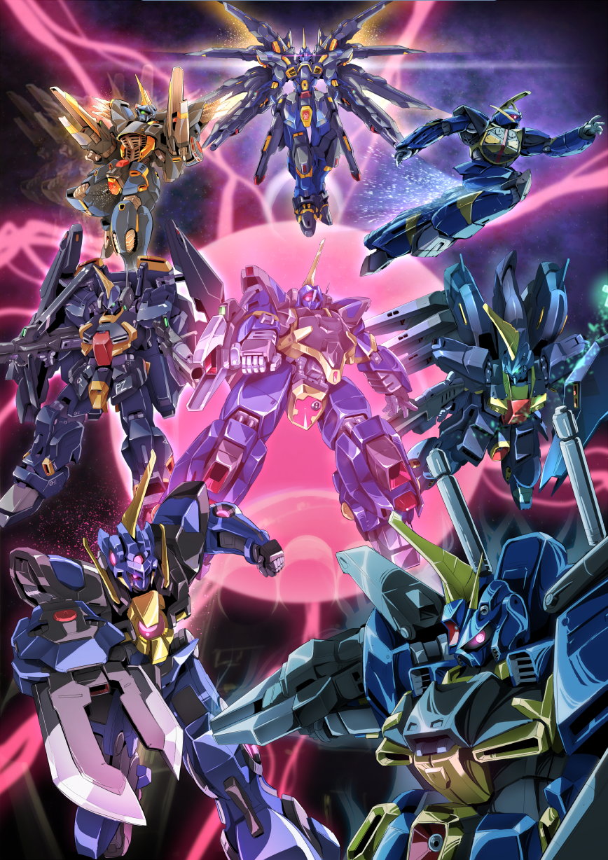afterimage arm_blade aura barzam beam_cannon beam_rifle char's_counterattack char's_counterattack_-_beltorchika's_children dual_wielding energy_gun f91_gundam fin_funnels glowing glowing_eye green_eyes gundam gundam_00 gundam_exia gundam_f91 gundam_seed gundam_seed_destiny gundam_zz hi-nu_gundam highres parody red_eyes sakusakusakurai shield strike_freedom_gundam super_gundam turn_a_gundam turn_a_gundam_(mobile_suit) weapon wings zeta_gundam zeta_gundam_(mobile_suit) zz_gundam