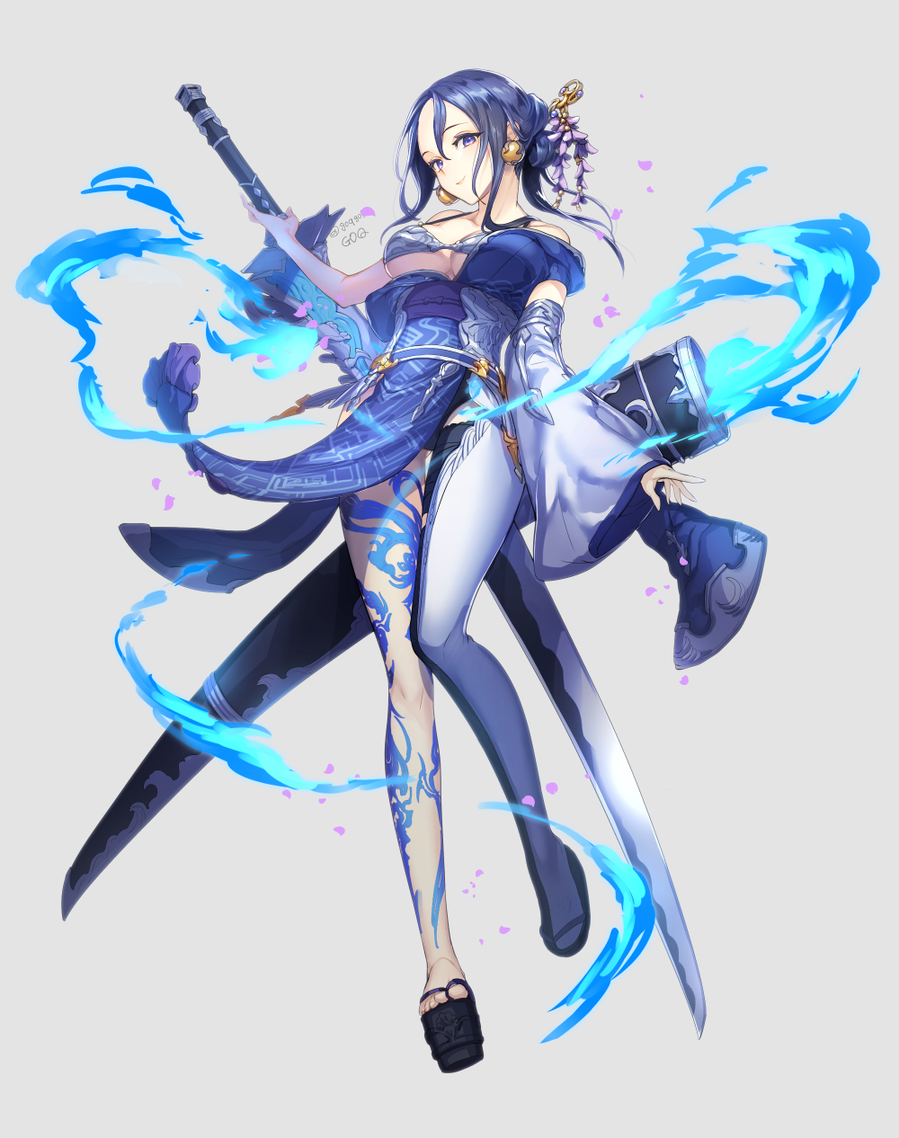 1girl bare_shoulders bikini_top black_hair breasts cleavage dress earrings flower goqgoq grey_background hair_flower hair_ornament highres holding holding_sword holding_weapon japanese_clothes jewelry kaguya_hime_(sinoalice) kimono large_breasts long_hair off_shoulder sash sheath simple_background single_thighhigh sinoalice smile solo sword thigh-highs tied_hair violet_eyes weapon