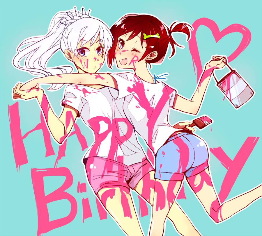 2girls denim denim_shorts hand_holding happy_birthday kuma_(bloodycolor) multiple_girls one_eye_closed paint paint_can paint_splatter redhead ruby_rose rwby shorts weiss_schnee white_hair