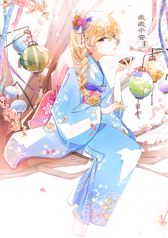 1girl blonde_hair braided_ponytail cup emo_(ricemo) japanese_clothes kimono lantern paper_lantern rwby sakazuki solo translation_request tree violet_eyes yang_xiao_long