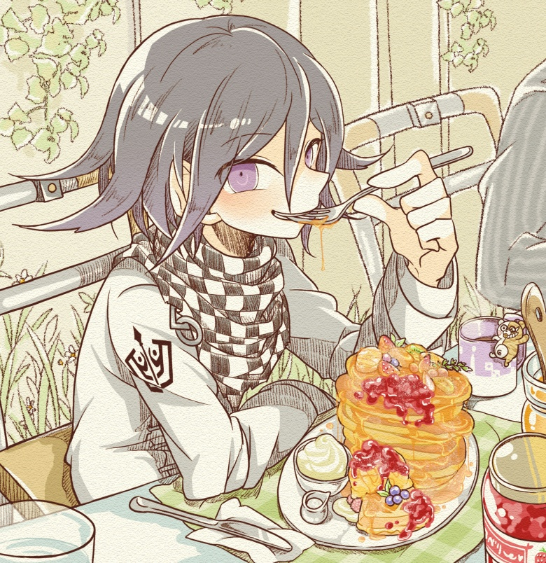 2boys blueberry bowl butter chair checkered chibi cream cup danganronpa drink eating food fork fruit grin hair_between_eyes jam jar kerchief knife looking_at_viewer monosuke mug napkin new_danganronpa_v3 ouma_kokichi pancake plate purple_hair saihara_shuuichi sitting smile solo_focus strawberry syrup table violet_eyes water