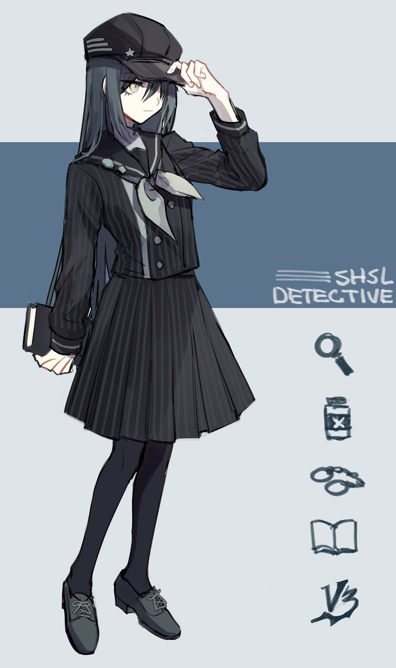 1girl artist_request baseball_cap black_hair book danganronpa english female genderswap genderswap_(mtf) hat long_hair new_danganronpa_v3 saihara_shuuichi school_uniform simple_background solo striped yellow_eyes