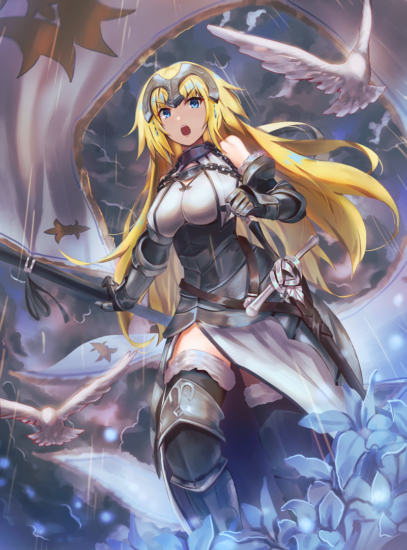 1girl armor armored_dress bare_shoulders bird blonde_hair blue_eyes breasts chains clouds cloudy_sky eyebrows_visible_through_hair fate_(series) faulds flag flower fur_trim gauntlets greaves headpiece kakumayu large_breasts light_rays looking_at_viewer open_mouth ruler_(fate/apocrypha) sky sleeveless solo sunbeam sunlight sword teeth thigh-highs walking weapon