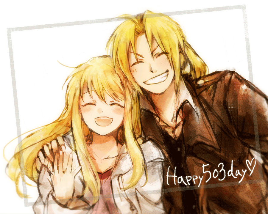 1boy 1girl blonde_hair closed_eyes coat couple edward_elric eyebrows_visible_through_hair frame fullmetal_alchemist grin hand_on_another's_shoulder happy heart husband_and_wife jacket long_hair number open_mouth ponytail simple_background smile text tsukuda0310 white_background winry_rockbell