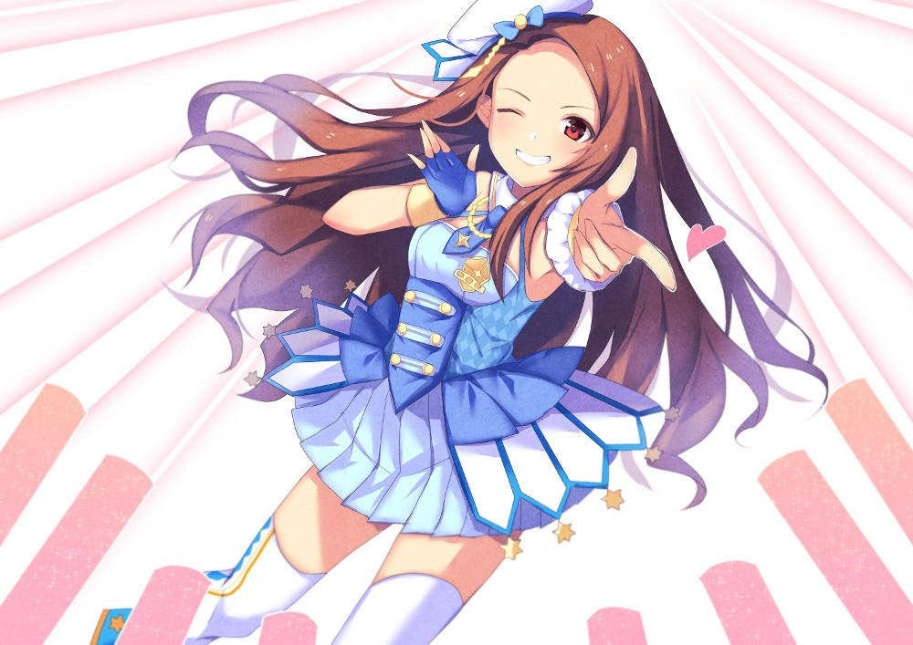 1girl ;d armpits bare_shoulders beret blue_dress blue_gloves blue_necktie blue_shoes breasts brown_eyes brown_hair commentary_request dress finger_gun fingerless_gloves gloves glowstick grin hat heart idolmaster idolmaster_platinum_stars long_hair looking_at_viewer minase_iori necktie one_eye_closed open_mouth saino_(saino_s) scrunchie shoes single_glove sleeveless sleeveless_dress small_breasts smile solo star teeth thigh-highs twinkle_star_(idolmaster) white_hat white_legwear wrist_scrunchie