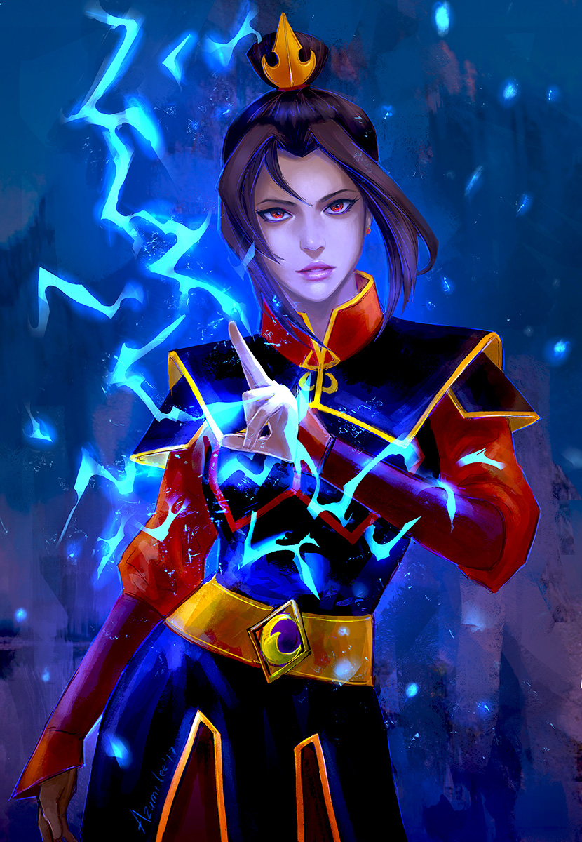 avatar:_the_last_airbender avatar_(series) azula black_hair china_dress chinese_clothes dress earrings hair_ornament highres jewelry lightning lips long_hair looking_at_viewer red_eyes solo tagme