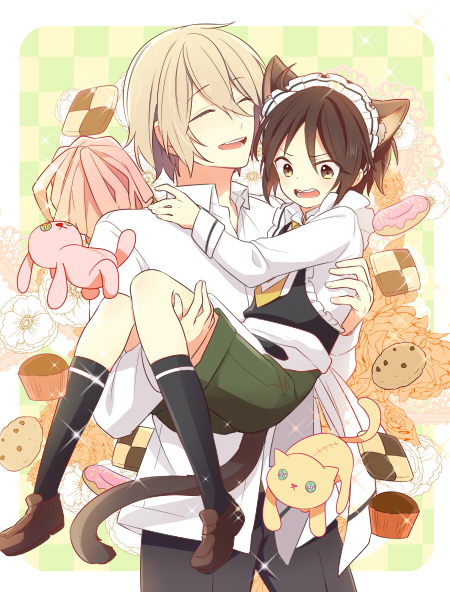 >:d 2boys :d ^_^ angry animal_ears apron bangs black_pants blonde_hair blush brown_eyes brown_hair brown_shoes buttons carrying cat cat_ears cat_tail checkerboard_cookie checkered checkered_background child closed_eyes collar collared_shirt cookie crop_top doughnut eyebrows eyebrows_visible_through_hair eyelashes facial_hair floral_background flower food frills frown full_body green_shorts hair_between_eyes happy hiiroichi kneehighs komiya_chihiro leg_up loafers long_sleeves maid maid_apron maid_headdress male_focus multiple_boys necktie open_mouth pants pastry pom_poms princess_carry rabbit shirt shoes short_hair shorts shounen_maid simple_background smile standing stuffed_animal stuffed_bunny stuffed_cat stuffed_toy tail takatori_madoka teeth toy trap waist waist_apron white_shirt yaoi yellow_eyes yellow_necktie