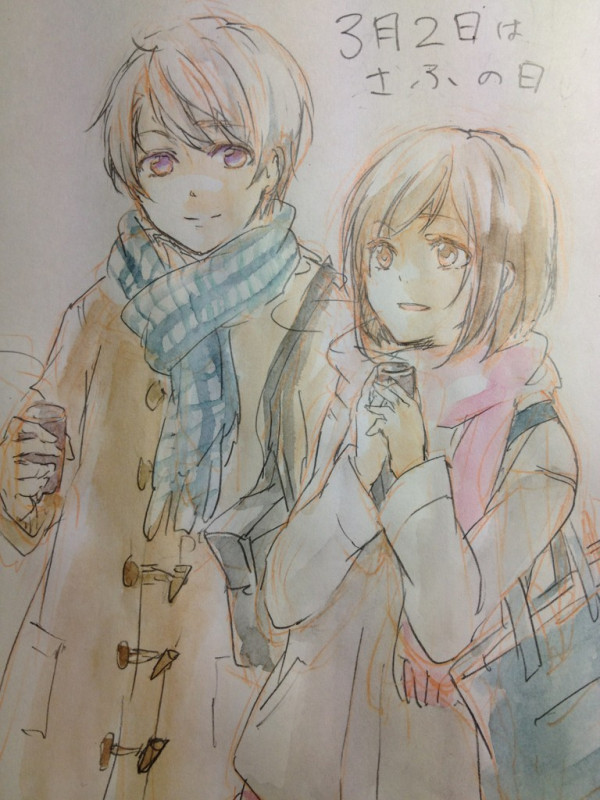 1boy 1girl akari_h brown_eyes brown_hair coat commentary graphite_(medium) jacket no.6 safu scarf shion_(no.6) short_hair smile traditional_media violet_eyes white_hair