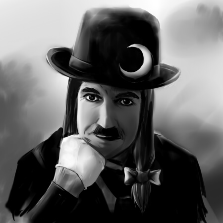charlie_chaplin cosplay facial_hair hat lowres monochrome mustache parody patchouli_knowledge patchouli_knowledge_(cosplay) solo touhou tsuyuki what