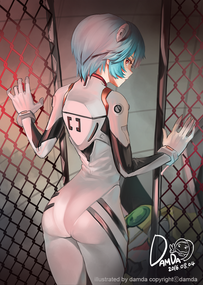 1girl 2016 artist_name ass ayanami_rei back bangs blue_hair bodysuit bracer breasts chain-link_fence cowboy_shot damda dated expressionless eyelashes fence from_behind from_side gloves hair_between_eyes hands_up headgear impossible_bodysuit impossible_clothes legs_together looking_at_viewer looking_back neon_genesis_evangelion pilot_suit plugsuit profile red_eyes short_hair skin_tight solo standing turtleneck white_bodysuit white_gloves