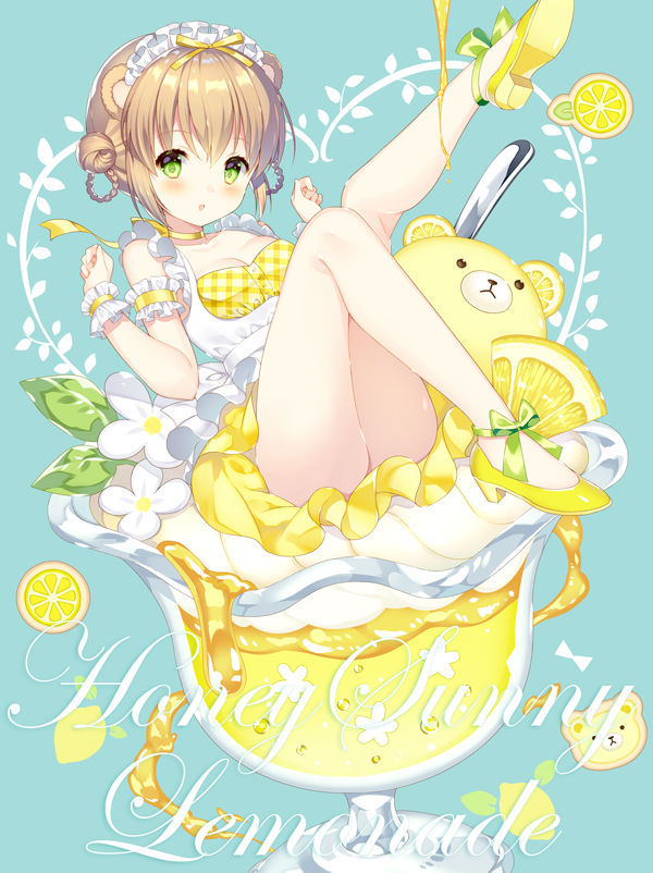 :o animal_ears ankle_bow ankle_ribbon armband bangs bare_legs bear_ears blue_background blush bow breasts brown_hair choker cleavage clenched_hands cocktail_glass commentary_request cookie cup double_bun dress drinking_glass flower food frilled_armband frilled_hairband frills fruit green_bow green_eyes hair_rings high_heels in_container knees_up leg_up lemon lemon_slice lemonade looking_at_viewer maid_headdress original petticoat ribbon ribbon_choker shoes sitting spoon underbust wasabi_(sekai) wristband yellow_choker yellow_ribbon yellow_shoes