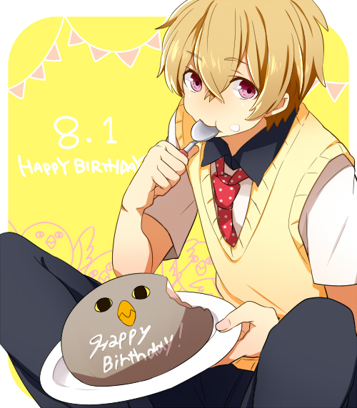 bird black_pants blonde_hair cake closed_mouth collar collared_shirt eating eyebrows eyebrows_visible_through_hair food food_on_face free! hair_between_eyes happy_birthday hazuki_nagisa hiiroichi holding holding_spoon looking_at_viewer male_focus necktie pants pastry pink_eyes red_necktie school_uniform shadow shirt short_hair short_sleeves simple_background spoon spoon_in_mouth string_of_flags sweater_vest tray upper_body vest yellow_background