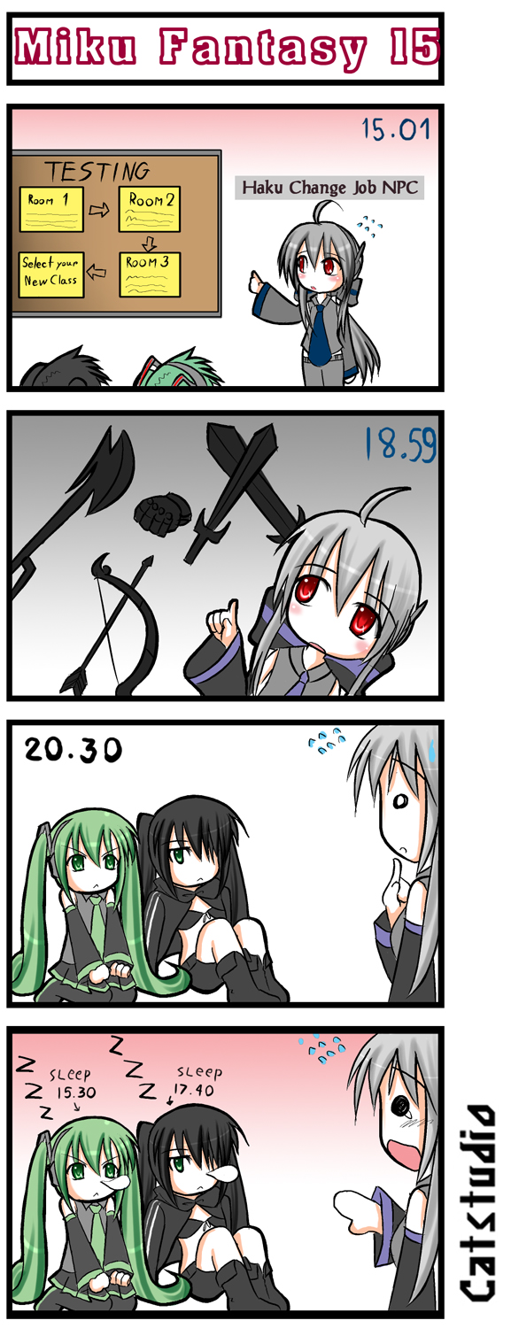 4koma ahoge black_rock_shooter black_rock_shooter_(character) catstudio_(artist) comic hatsune_miku highres o_o silent_comic sleeping tears vocaloid voyakiloid yowane_haku