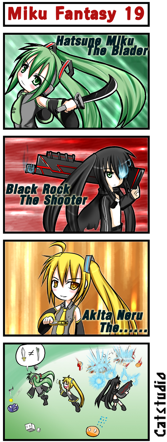 akita_neru black_rock_shooter black_rock_shooter_(character) catstudio_(artist) comic hatsune_miku highres silent_comic vocaloid