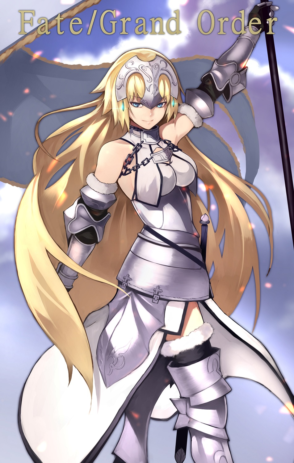 blonde_hair jeanne_of_arc long_hair warrior yellow_eyes