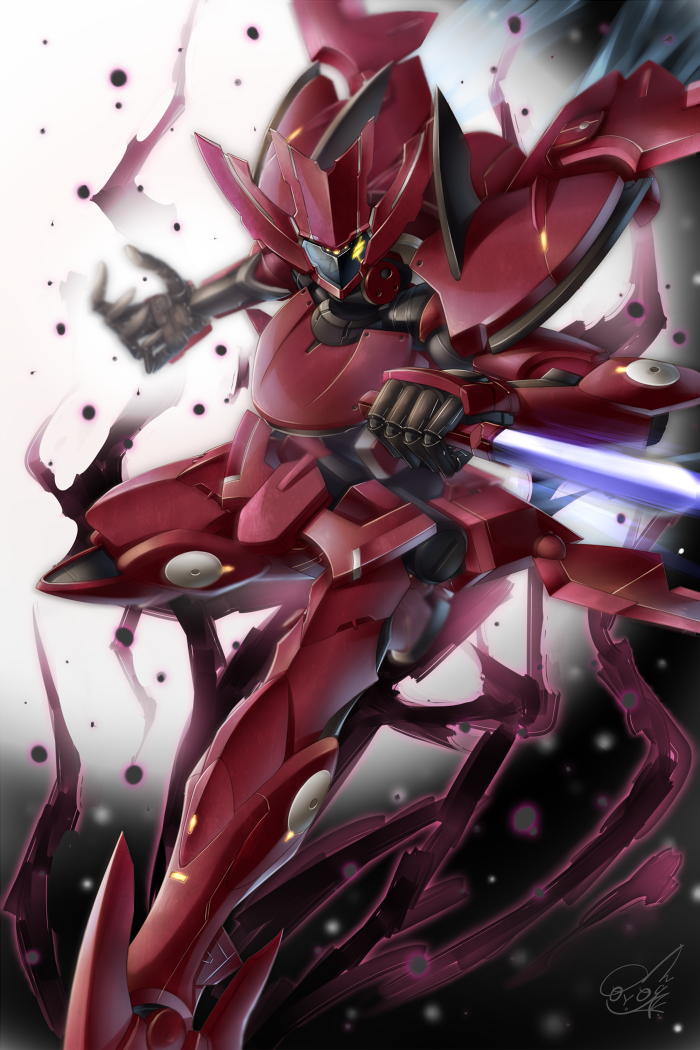 blurry commentary_request doyouwantto enact energy_blade glowing glowing_eyes gundam gundam_00 knife mecha motion_blur no_humans reverse_grip thrusters