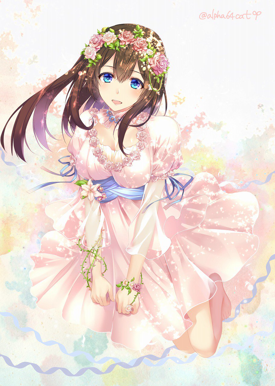 1girl :d alpha_(yukai_na_nakamatachi) blue_eyes blue_ribbon breasts brown_hair cleavage dress flower head_wreath highres idolmaster idolmaster_cinderella_girls jpeg_artifacts long_hair open_mouth plant ribbon sagisawa_fumika signature smile solo twitter_username vines white_dress wrist_flower