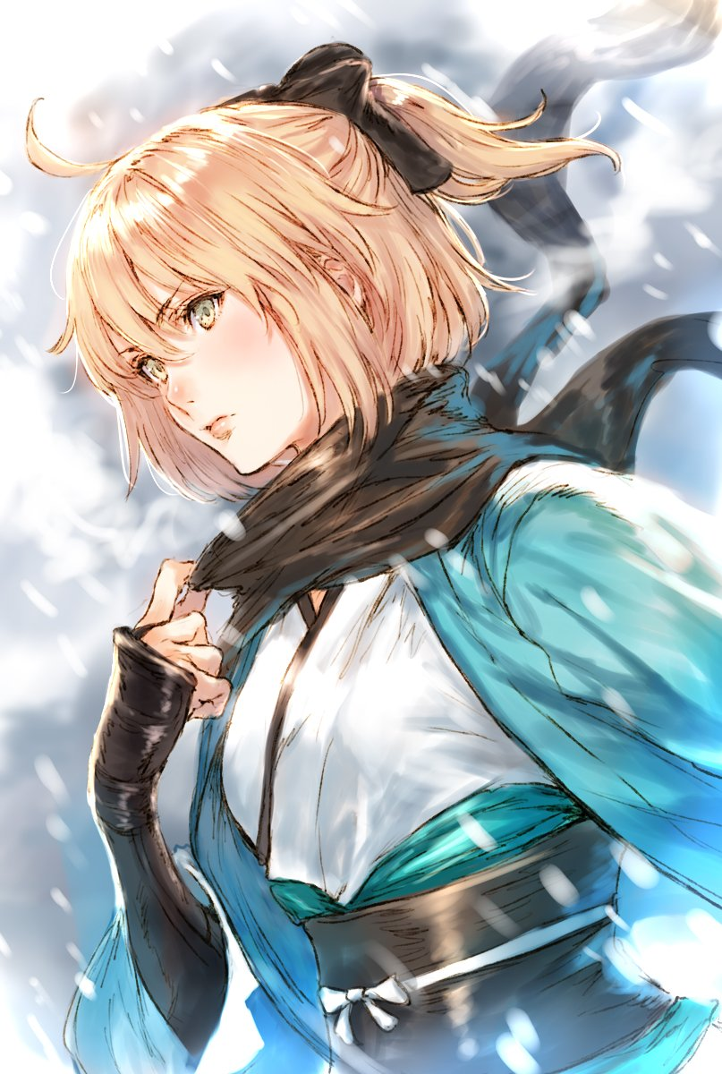 1girl adjusting_scarf arm_guards black_scarf blonde_hair blush fate/grand_order fate_(series) fog green_eyes hair_ribbon haori highres japanese_clothes lips makimura_shunsuke obi ribbon robe sakura_saber sash scarf shinsengumi short_ponytail snow solo