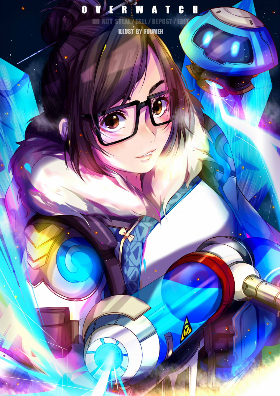 1girl black-framed_eyewear blue_gloves breasts brown_eyes brown_hair canister coat copyright_name drone fur-trimmed_jacket fur_coat fur_trim glasses gloves gun hair_bun hair_ornament hair_stick highres holding holding_gun holding_weapon jacket long_sleeves looking_at_viewer medium_breasts mei_(overwatch) overwatch parted_lips pinochi robot short_hair signature smile snowball_(overwatch) solo upper_body watermark weapon winter_clothes winter_coat