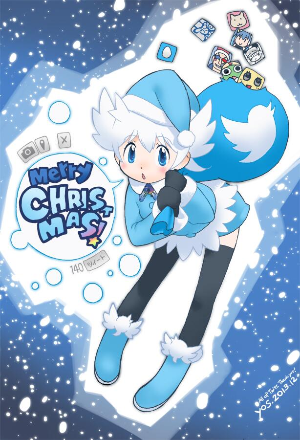1girl 2013 bag black_legwear blue_eyes boots chestnut_mouth commentary dated english fur_trim hat head_wings jpeg_artifacts leaning_forward looking_at_viewer merry_christmas mittens personification pom_pom_(clothes) santa_hat short_hair snow solo speech_bubble thigh-highs twitter twitter_logo white_hair winter_clothes yoshizaki_mine