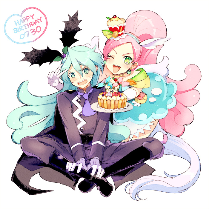 1boy 1girl ;d animal_ears blue_eyes blue_hair brother_and_sister choker cure_parfait dual_persona earrings elbow_gloves female food_themed_hair_ornament gloves green_eyes hair_ornament happy_birthday heart horse_ears horse_tail houhou_(black_lack) indian_style jewelry julio_(precure) kirahoshi_ciel kirakira_precure_a_la_mode kirarin_(precure) magical_girl male one_eye_closed open_mouth pastry pikario_(precure) pink_hair plate precure siblings sitting smile star star-shaped_pupils symbol-shaped_pupils tail v white_gloves wings