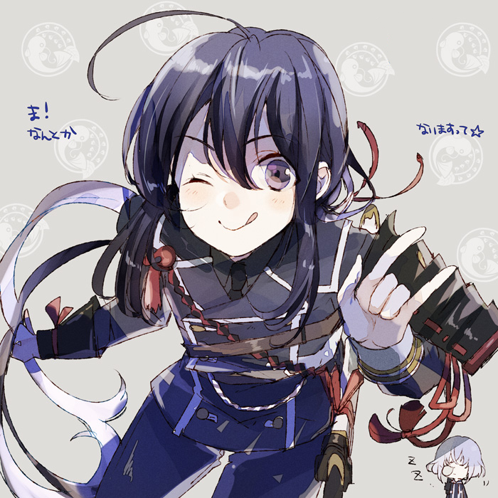 2boys ;q \n/ ahoge armor black_hair closed_eyes honebami_toushirou houhou_(black_lack) japanese_armor male_focus military military_uniform multiple_boys namazuo_toushirou necktie nose_bubble one_eye_closed ponytail sheath sheathed sode sword tongue tongue_out touken_ranbu translation_request uniform violet_eyes wakizashi weapon zzz