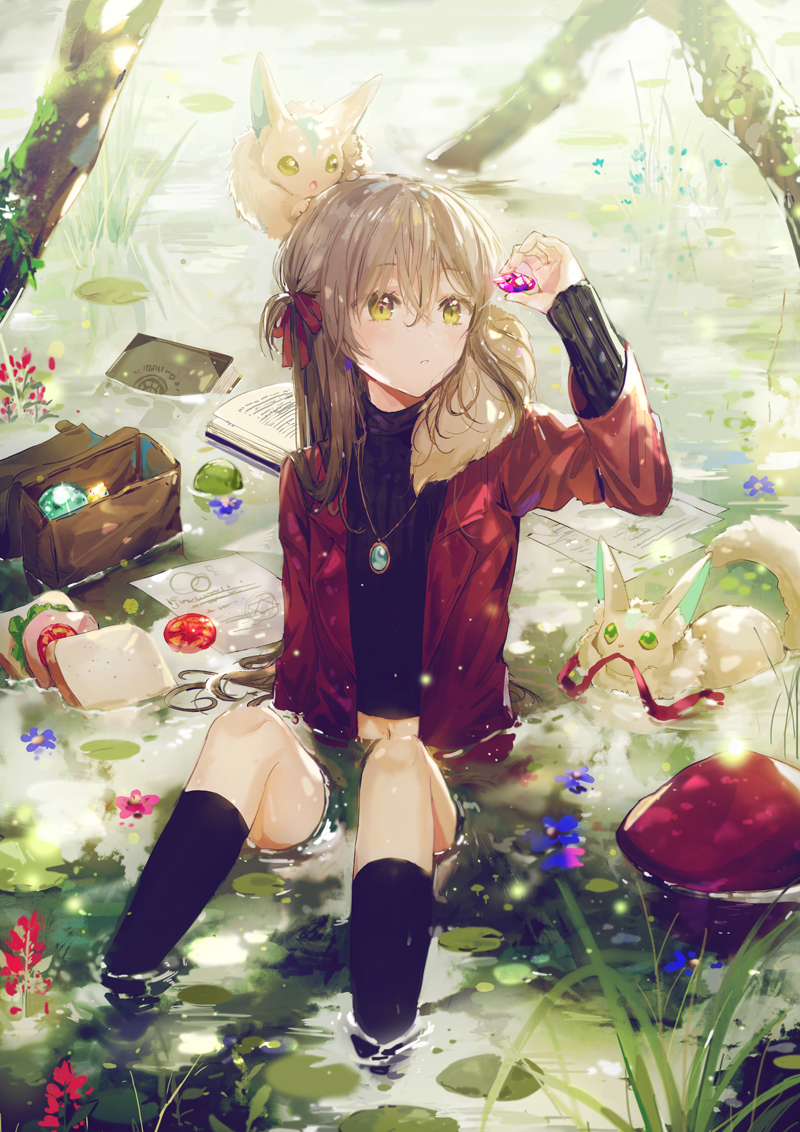 1girl black_legwear black_sweater blush cardigan closed_mouth creature dangmill day fantasy gem holding jewelry kneehighs leaf necklace one_side_up open_bag open_cardigan open_clothes original outdoors partially_submerged pond rabbit ribbed_sweater sitting solo sweater