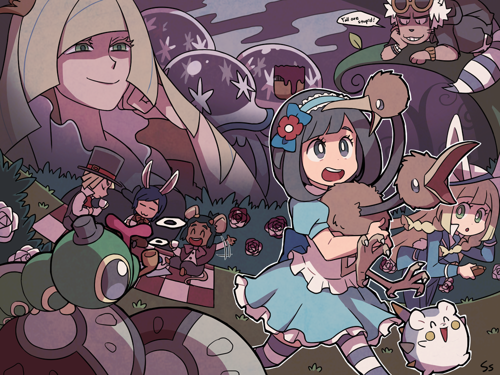 3girls 4boys alice_(wonderland) alice_(wonderland)_(cosplay) alice_in_wonderland animal_ears apron black_eyes black_hair blonde_hair blue_pants blue_shirt bow bowtie braid caterpie cheshire_cat cheshire_cat_(cosplay) closed_eyes cosplay crown cup dark_skin dark_skinned_male doduo flower gladio_(pokemon) grass guzma_(pokemon) hat hau_(pokemon) lillie_(pokemon) long_hair long_sleeves lusamine_(pokemon) mad_hatter mad_hatter_(cosplay) mini_crown mizuki_(pokemon_sm) mother_and_daughter mouse_ears mouse_tail multiple_boys multiple_girls nihilego open_mouth paintbrush pants pipe pocket_watch pokemon pokemon_(creature) pokemon_(game) pokemon_sm queen_of_hearts queen_of_hearts_(cosplay) rabbit_ears rose shirt short_hair short_sleeves sitting ssalbulre sunglasses sunglasses_on_head tail teacup togedemaru top_hat twin_braids watch white_hair white_rabbit white_rabbit_(cosplay) wristband you_(pokemon_sm)