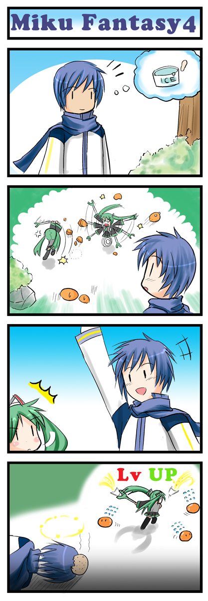 4koma catstudio_(artist) comic hatsune_miku head_bump highres kaito level_up silent_comic spring_onion vocaloid