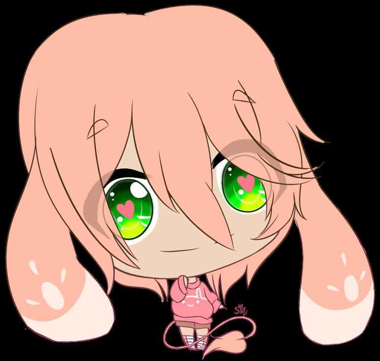 1girl amaranth_(sinamuna) animal_ears artist_name bunny_girl chibi green_eyes hearts pink_hair rabbit_ears shoes shorts sinamuna smile solo sweater tail