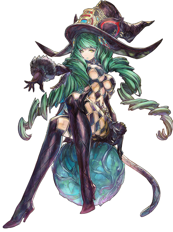 1girl argyle_cutout black_gloves boots fake_tail fiore_brunelli full_body gloves green_hair hair_ornament hat high_heels lipstick long_hair makeup official_art orb outstretched_arm simple_background sitting solo star_ocean star_ocean_integrity_and_faithlessness tail thigh-highs thigh_boots twintails very_long_hair white_background witch_hat yasuda_akira yellow_eyes
