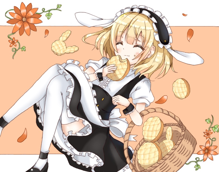 1girl animal_ears apron bangs basket black_shoes black_skirt blonde_hair blush bread closed_eyes closed_mouth commentary_request eating eyebrows_visible_through_hair facing_viewer fake_animal_ears flat_chest fleur_de_lapin_uniform floppy_ears flower food frilled_apron frilled_cuffs frilled_shirt frilled_skirt frills full_body gochuumon_wa_usagi_desu_ka? kirima_sharo maid_headdress melon_bread miyu19996513 plant puffy_short_sleeves puffy_sleeves rabbit_ears shirt shoes short_hair short_sleeves skirt solo thigh-highs two-tone_background underbust vines waist_apron white_apron white_legwear white_shirt wrist_cuffs