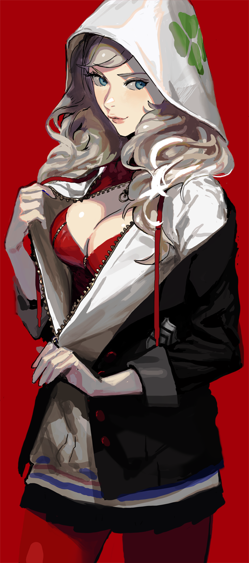 1girl blonde_hair blue_eyes breasts gloves long_hair looking_at_viewer persona persona_5 smile solo takamaki_anne twintails