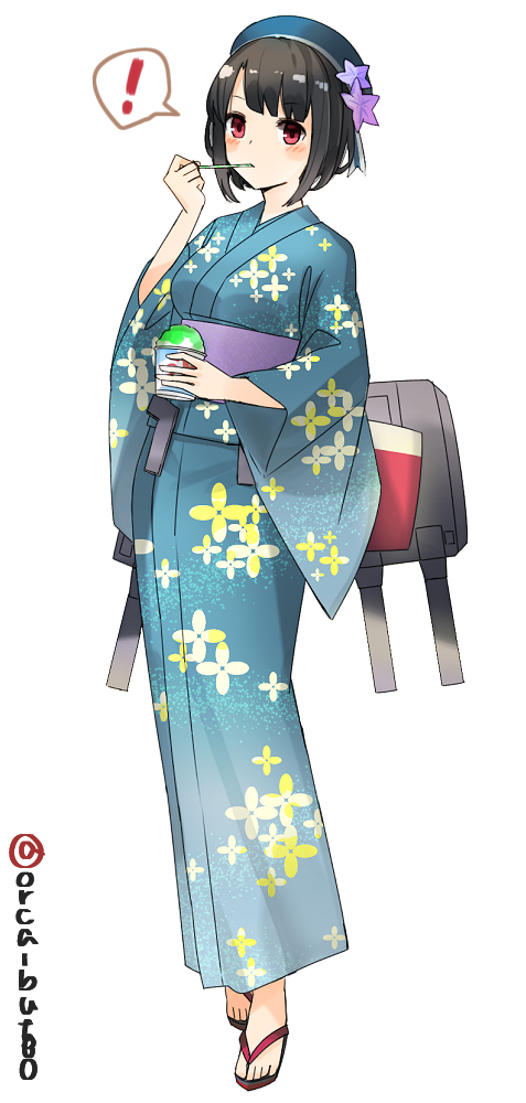 ! 1girl beret black_hair cannon floral_print full_body hat japanese_clothes kantai_collection kimono red_eyes rigging sandals shaved_ice short_hair simple_background solo spoken_exclamation_mark spoon standing takao_(kantai_collection) teal_kimono twitter_username white_background yamashiki_(orca_buteo) yukata