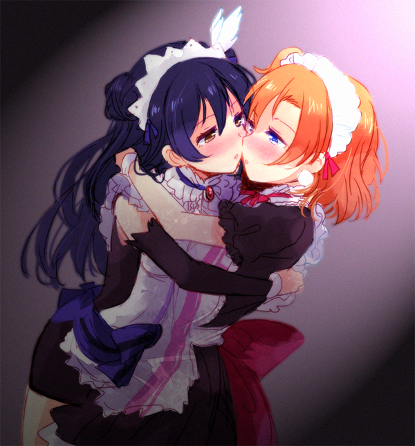 "2girls apron blue_eyes blue_hair blush brooch brown_eyes couple detached_sleeves double_bun dress earrings eye_contact female friends gem hair_between_eyes half-closed_eyes highres hug incipient_kiss jewelry kousaka_honoka long_hair looking_at_another love_live! love_live!_school_idol_project maid maid_headdress mogyutto_""love""_de_sekkin_chuu! multiple_girls mutual_hug mutual_yuri nagiriku912 one_side_up orange_hair parted_lips ribbon ruby_(stone) short_dress short_hair sonoda_umi yuri"