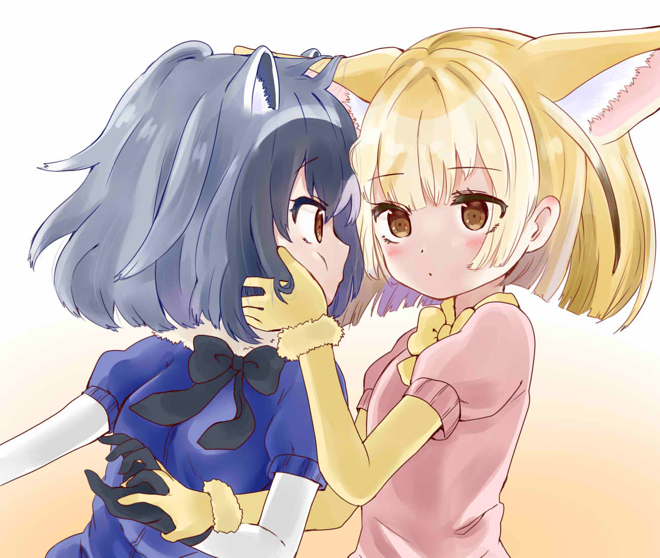 2girls animal_ears black_bow black_bowtie black_gloves black_hair blonde_hair blush bow bowtie brown_eyes common_raccoon_(kemono_friends) extra_ears eye_contact fennec_(kemono_friends) fox_ears gloves grey_hair hand_holding hand_in_another's_hair hekicho kemono_friends looking_at_another multiple_girls open_mouth puffy_short_sleeves puffy_sleeves raccoon_ears short_hair short_sleeves yellow_bow yellow_bowtie yellow_gloves yuri