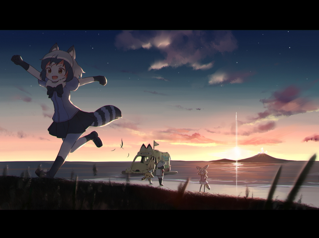 4girls animal_ears backpack bag bare_shoulders beach black_bow black_gloves black_hair black_legwear black_shoes black_skirt blonde_hair blue_shirt blurry blush bow breast_pocket brown_eyes brown_shoes bucket_hat clenched_hands clouds commentary_request common_raccoon_(kemono_friends) depth_of_field elbow_gloves fennec_(kemono_friends) flag fox_ears fox_tail full_body fur_collar gloves grass grey_hair hand_on_hip hat hat_feather high-waist_skirt japari_bus japari_symbol_print kaban_(kemono_friends) kemono_friends leaning_forward multicolored_hair multiple_girls nekoze_(chatte_secca) outdoors outstretched_arms pantyhose pink_sweater pleated_skirt pocket puffy_short_sleeves puffy_sleeves raccoon_ears raccoon_tail red_shirt running sandstar serval_(kemono_friends) serval_ears serval_print serval_tail shirt shoes short_hair short_sleeves shorts skirt sky sleeveless sleeveless_shirt socks standing striped_tail sun sunrise sunset sweater tail thigh-highs volcano water white_hair white_shirt white_shoes white_shorts yellow_bow