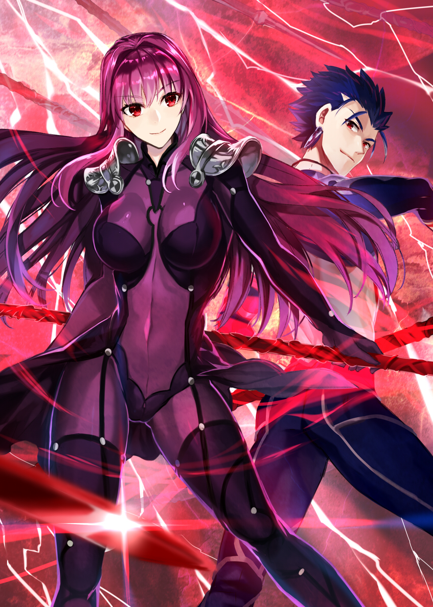 1boy 1girl armor blue_clothes blue_hair blue_pants bodysuit breasts breasts_apart closed_mouth company_connection covered_navel crossover earrings electricity eyebrows_visible_through_hair fate/grand_order fate/stay_night fate_(series) floating_hair gae_bolg hair_intakes highres holding holding_spear holding_weapon jewelry lancer large_breasts lightning looking_at_viewer looking_back midriff neck polearm purple_bodysuit purple_hair red_eyes scathach_(fate/grand_order) shiny shiny_hair short_hair shoulder_armor skin_tight spaulders spear spiky_hair standing type-moon v-neck very_long_hair waist_cape weapon ycco_(estrella)