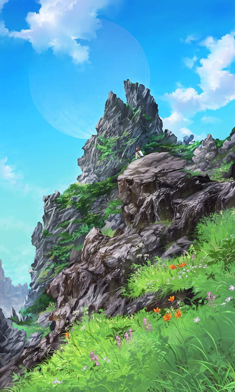 1girl blue_sky brown_hair clouds day elbows_on_knees flower grass highres kneehighs kota_(hamlet) lunar_outline outdoors profile rock scenery sitting sky white_legwear
