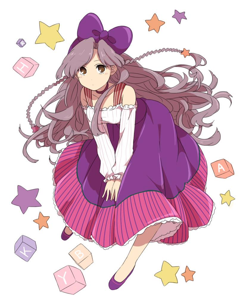 1girl alphabet_blocks ayabe_kihachirou bangs bare_shoulders blush bow braid brown_eyes closed_mouth cube dot_nose dress frilled_skirt frills grey_hair hair_bow leaning_forward long_hair long_sleeves looking_at_viewer purple_bow purple_shoes purple_skirt rakudai_ninja_rantarou ribbed_dress sekina shoes skirt solo star very_long_hair white_background white_dress
