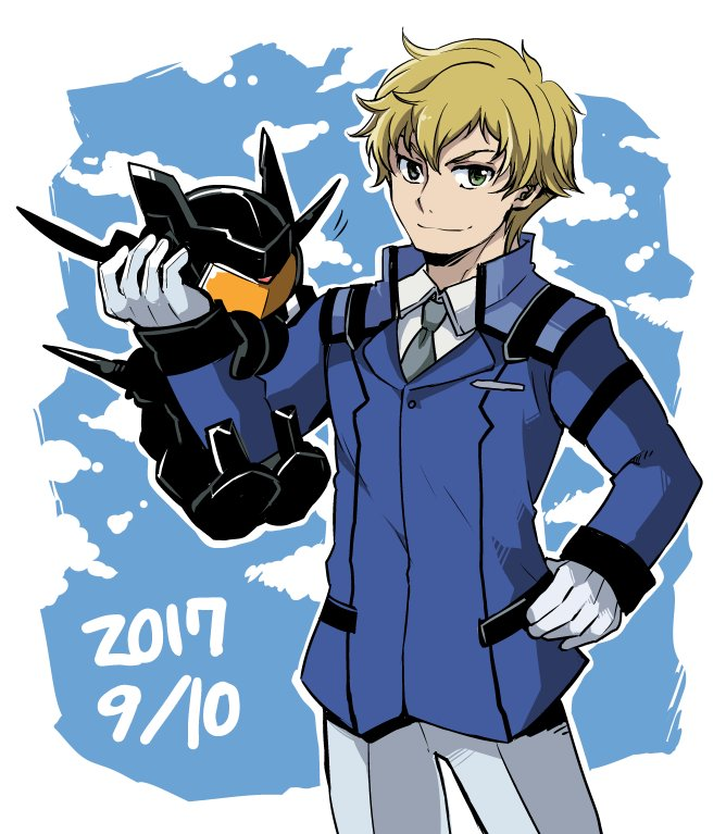 1boy 2017 blonde_hair chibi commentary_request dated flag_custom gloves graham_spector green_eyes gundam gundam_00 hand_on_hip hand_up jacket looking_at_viewer mecha necktie pants smile tako_(plastic_protein)