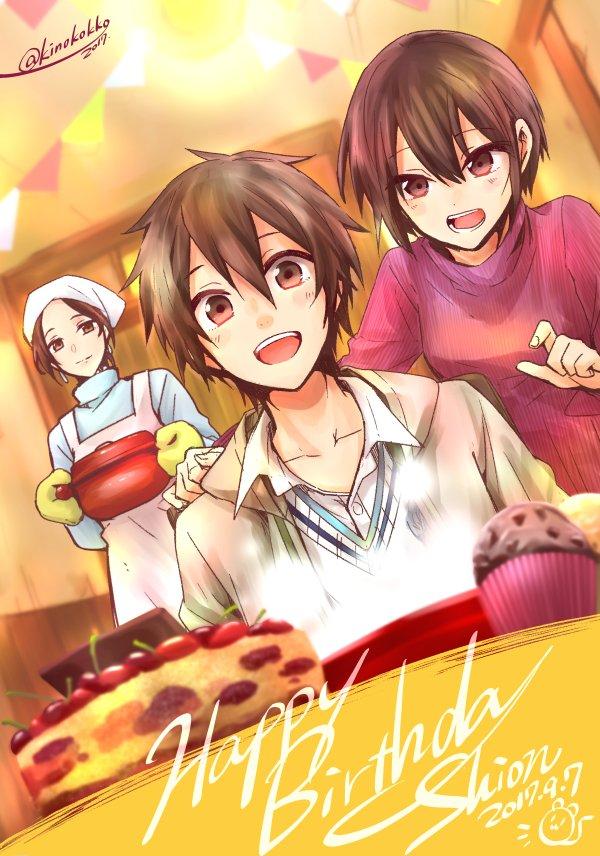 1boy 2017 2girls apron bangs birthday birthday_cake brown_eyes brown_hair cake collarbone food happy_birthday head_scarf karan_(no.6) kino_hinoki mother_and_son multiple_girls no.6 oven_mitts safu shion_(no.6) short_hair signature smile turtleneck