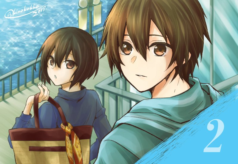 1boy 1girl 2017 bag bangs brown_eyes brown_hair kino_hinoki looking_back no.6 safu shion_(no.6) short_hair signature turtleneck twitter_username water