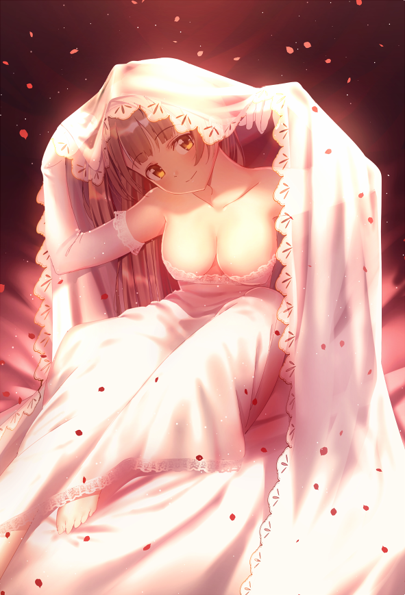 1girl bare_shoulders barefoot breasts brown_hair cleavage closed_mouth dress elbow_gloves eyebrows_visible_through_hair gloves head_tilt lace lace-trimmed_dress lace-trimmed_gloves large_breasts looking_at_viewer love_live! love_live!_school_idol_project minami_kotori nagareboshi petals smile solo veil white_dress white_gloves yellow_eyes